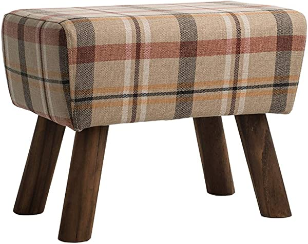 Upholstered Ottoman Pouffe Seatting Stool Luxury Sofa Footrest Footstool Change Shoe Bench Makeup Stool With Wooden 4 Legs And Linen Cover