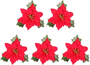 5 Pcs 15x15cm Christmas Simulation Red Flower Wreath Garland Decoration Props Home Party Gathering Bar Ornaments (Red) for...