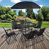 Marko Outdoor 8PC <span class='highlight'>Garden</span> <span class='highlight'>Patio</span> <span class='highlight'>Furniture</span> <span class='highlight'>Set</span> Outdoor Black Rectangular Table Chairs & Parasol