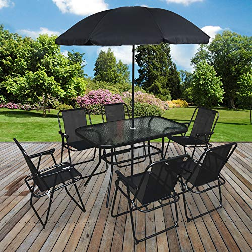 Marko Outdoor 8PC Garden Patio Furniture Set Outdoor Black Rectangular Table Chairs & Parasol