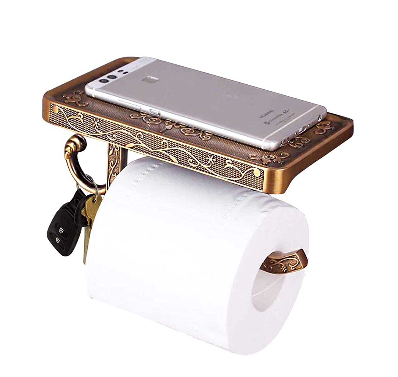 Toilet Paper Holder, Reversible Wall Mount Toilet Paper Holder with Phone Shelf and Key Hook, Vintage Decor Style (Oil Rubbed Bronze)