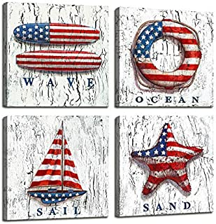 Nautical Decor Beach Wall Art for Bedroom Decorations American Flag Photos Wooden Boat / Lifebuoy / Sailboat Nautical Office decor - 4 Panel Framed Artwork Canvas Pictures For Home Bathroom Wall Decor