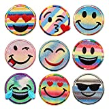 9CS Glitter Rainbow Smile Face Iron On Patch for Clothing Girls Patches Iron On Embroidery Decorative Appliques for Kids Pants Jeans Clothes, Smile Face