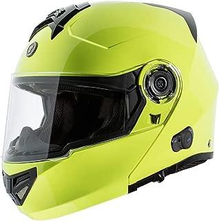 TORC T27 Full Face Modular Helmet with Integrated Blinc Bluetooth (Hi Viz Yellow, Medium)