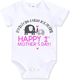 Happy First Mothers Day Newborn Baby Boy Girl Outfit Short Sleeve Bodysuit Twins Summer Romper Clothes Set