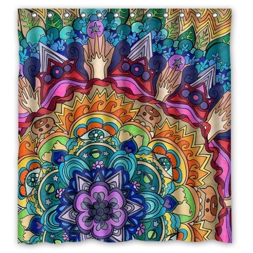 KXMDXA Waterproof Bathroom Beautiful Mandala Pattern Shower Curtain Polyester Fabric Shower Curtain 60 X 72 Inch