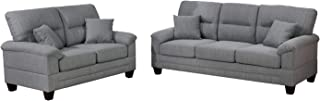 Bobkona 2-Pcs Sofa & Loveseat, Grey