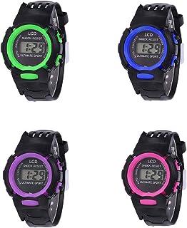 RONSHIN Gifts for Children Student LCD Digital Watch EL Luminous Week 24 Hour Display Sports Wristwatch Boy Girl Gift Green