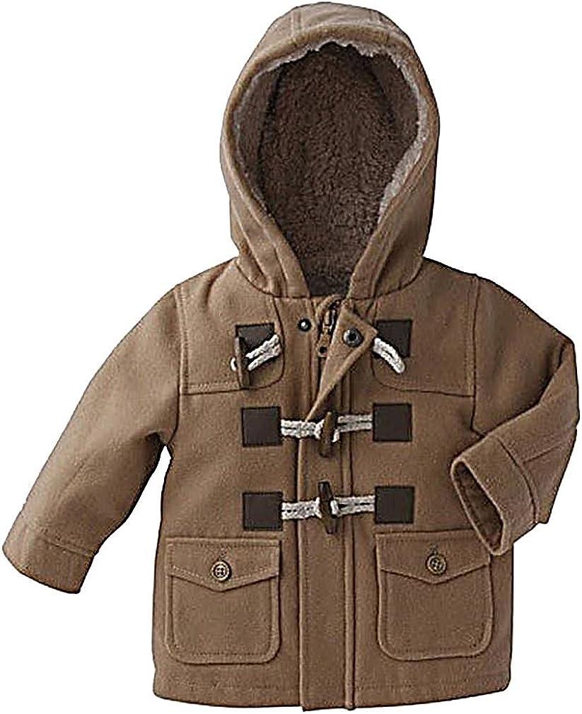 Sweety, Boys Hooded Jacket Lightweight Soft Warm Wool Blend Trench Coat