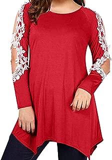 2019 Women Tops Blouse Shirt Cold Shoulder Lace Patchwork Long Sleeve Sweatshirt Pullover