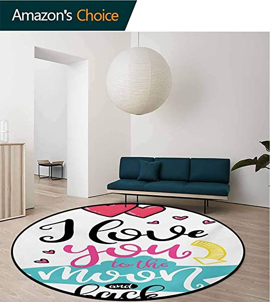 RUGSMAT I Love You Carpet Gray Round Area Rug Love You To The Moon And Back Motivational Lifestyle Quote Partners Design Pattern Floor Seat Pad Home Decorative Indoor Round 31 Inch