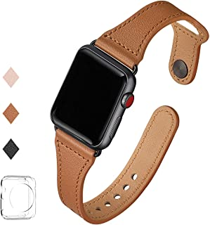 LOVLEOP コンパチブル apple watch バンド 38mm 40mm,本革ルプアッープ交換用細いストラップリストバンド iWatchシリーズに対応 5/4/3/2/1 (38mm 40mm, ブラウン+ブラックコネクタ)