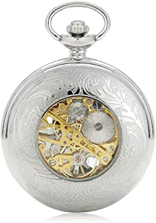 Watch Mechanical Pocket Watch New Silver Hollowed Out Arabic Numerals Clockwork, Fashion Watch (Color : Silver, Size : 4.7x1.5cm)