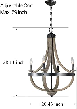 """28"""" Wood French Country Chandelier for Dining Room, 4 Light Orb Farmhouse Rustic Chandeliers Pendant Light, Distressed Vi"""