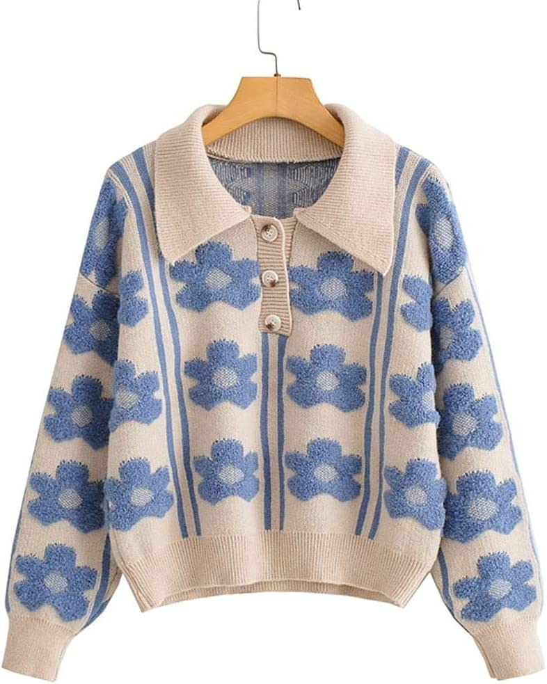AAKKY Sweaters for Women's Elegant Flower Jacquard Knit Sweater Chic Ladies Blouse Lapel Sweater (Color : Blue, Size : One Size)