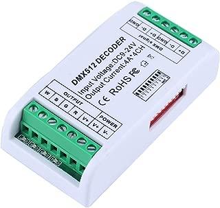 CHINLY 4 Channel DMX Decoder RGB RGBW 12A LED Strip Controller DMX 512 Dimmer Driver DC9V-24V for RGB RGBW LED Strip Module Plastic Cover