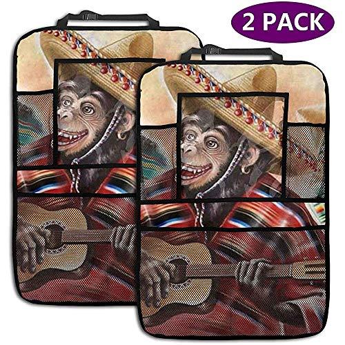 XZfly apen in de Mexicaanse traditionele jurk spelen gitaar achterbank auto organisator auto terug stoel beschermer opslag zakken 2 Pack