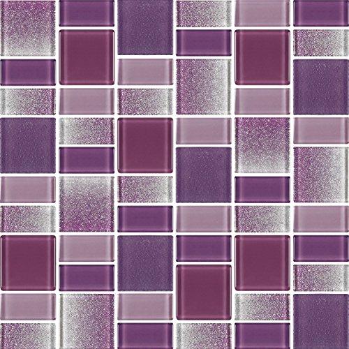 "4"" x 6"" Sample - Fusion Purple Glass Mosaic Tiles"