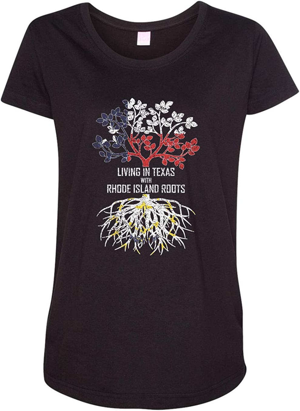 HARD EDGE DESIGN Women's Living in Texas with Rhode Island Roots T-Shirt
