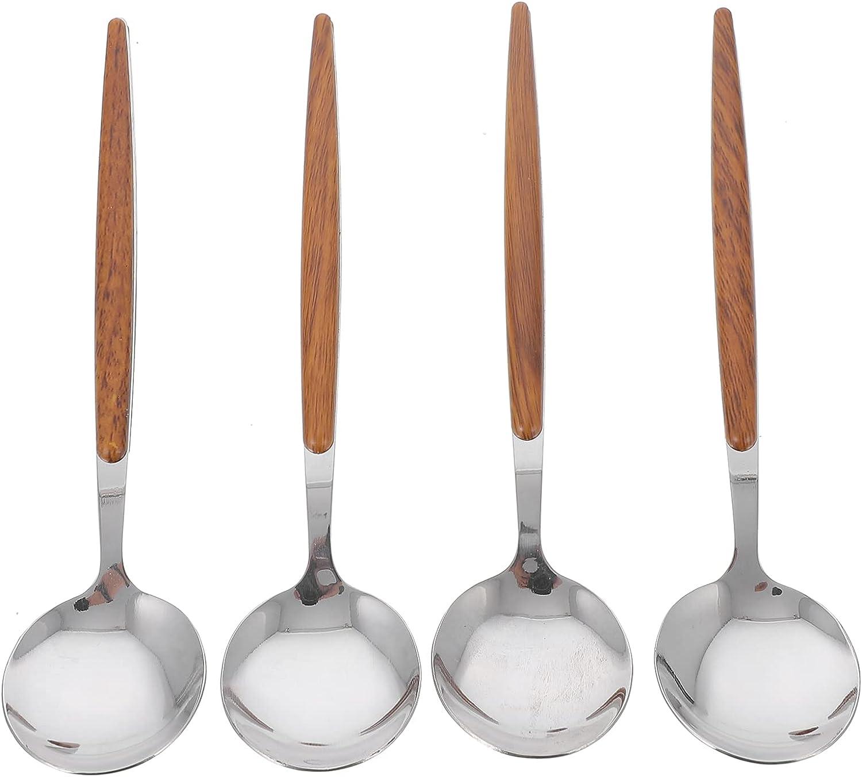 HEMOTON 4Pcs Stainless Steel overseas Soup Spoons Round Cake Desse Fees free!!