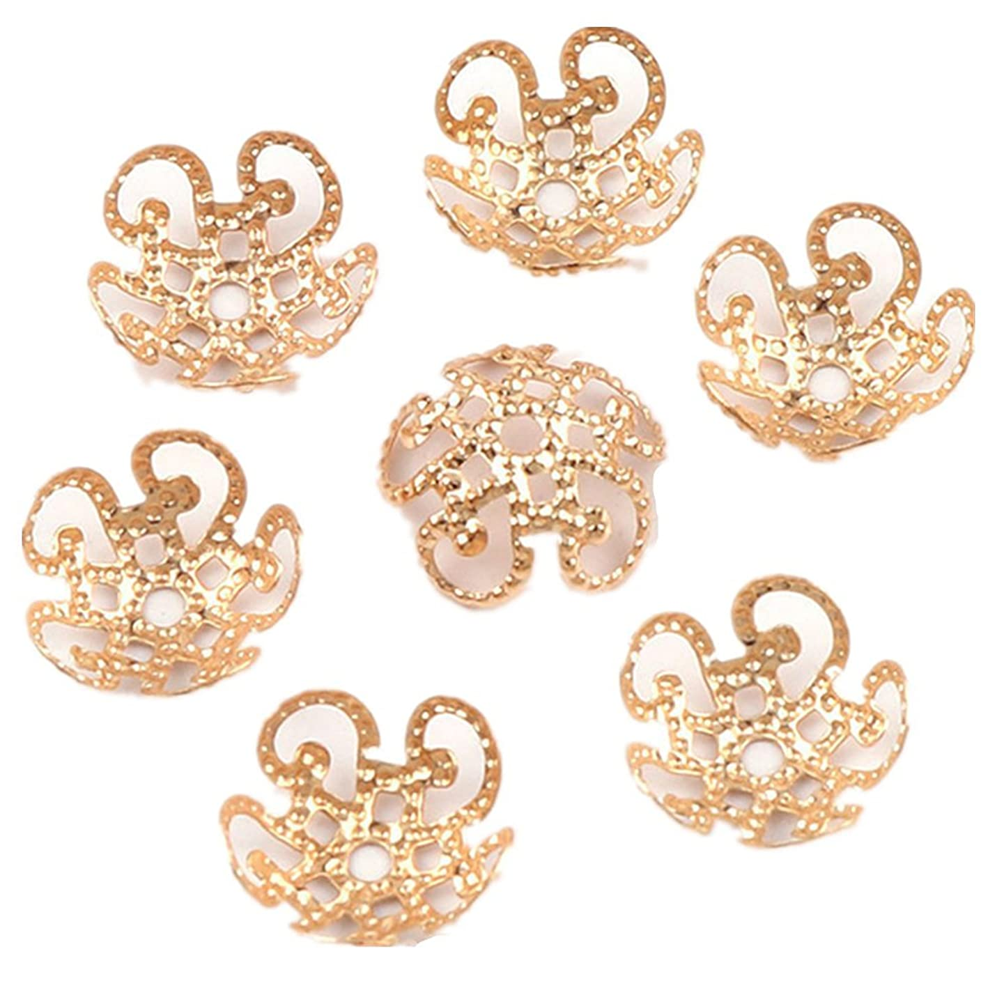 500PCS 11mm Gold Tone Flower Bead Caps Hollow Flower Bead Caps For Jewelry Making (rose gold)