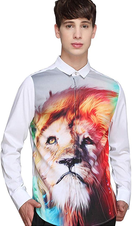 Men's Trendy Shirt Halloween Fashion Digital 3D Animal Head Print Lapel Slim Long Sleeve Top Casual Loose White Shirt