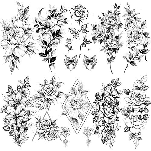 10 pieces of sketched flower sexy tattoo stickers sketched flower fake tattoos stickers rose flower black and white temporary tattoos stickers (3.54×7.48 inches)