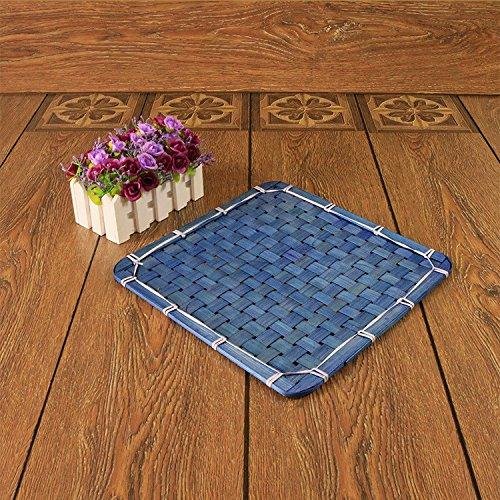 XBR Square Square Bambou Mat Russes créatif Herbe de Table Pad Pad Dimensions d'isolement Bowl blu 10 * 10cm