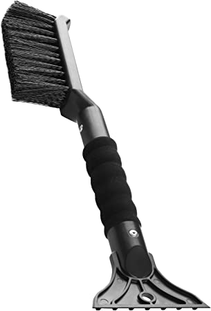 OxGord 2-in-1 Ice Scraper & Snow Brush - No Scratch w/ Soft Bristle Best for Frost Remover & Broom Removal Tool - Auto Windshield Window Cleaning Kit - Heavy Duty Winter Car Accessories w/Grip Handle: image
