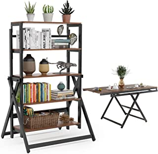 Tribesigns 5-Tier Bookshelf, Folding Etagere Bookcase Organizer Storage Bookshelves, Can Also be Dining Table or Ladder Shelf for Home Use