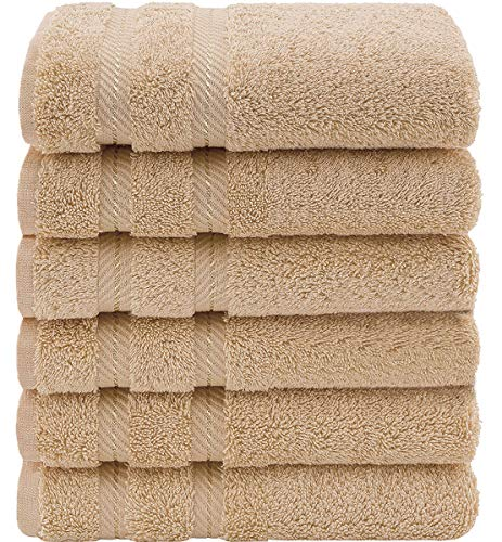 CASA COPENHAGEN Bella Egipcio algodón 600g/m², Toallas de Mano y servilleta (Beige) 6 Piezas