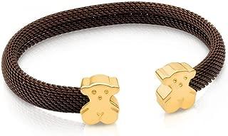 Steel and Vermeil Silver Bear Mesh Cuff Bracelet