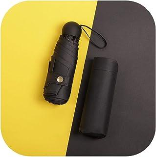 5つ折りポケット日傘、日焼け止め、UVプロテクション、日よけ、折りたたみ傘、超軽量、ポータブル、雨と雨-6骨ポケット傘黒丸ケーキ-