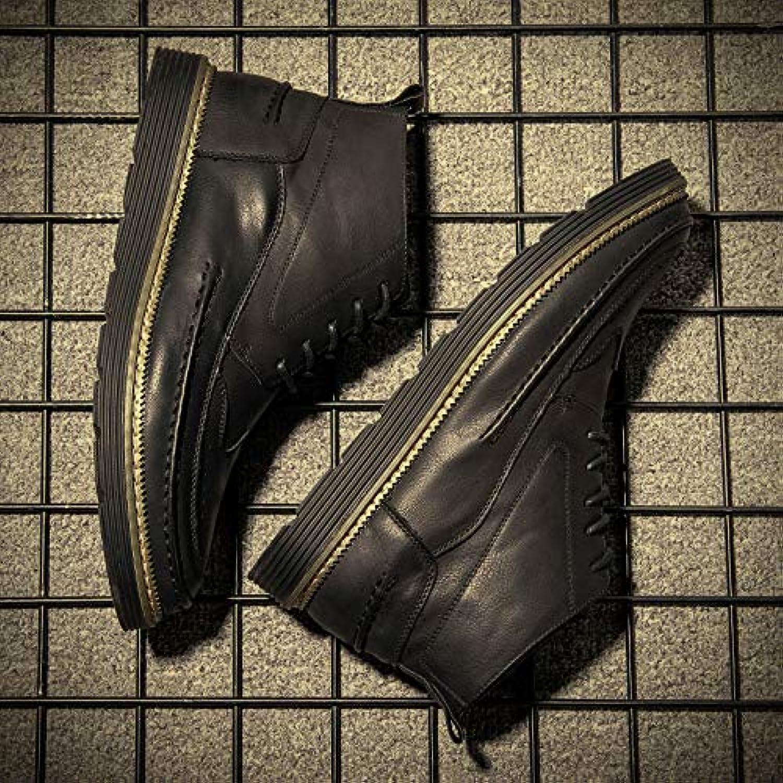 Shukun Men's boots Winter High Men'S shoes Martin shoes Cotton Warm Cotton shoes Leather shoes Martin Boots Men'S Leather Boots