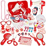 Little Girls Pretend Play Makeup Set Princess Toy Box with Jewelry Kit, Cosmetic Accessories and Illuminated Watch for Kids Children 3 4 5 Years (28PCS)