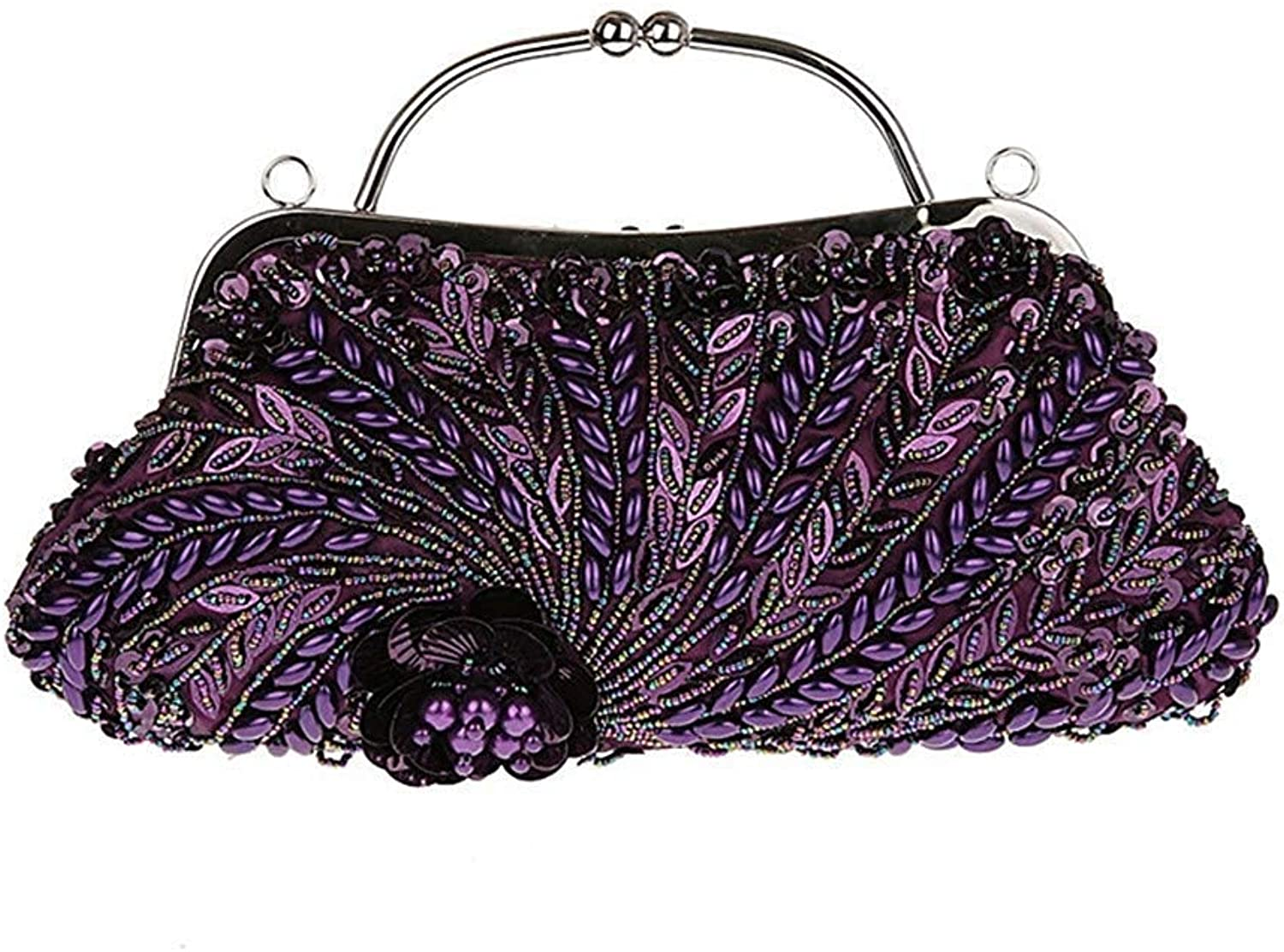 Ladies Handbag Women's Fully Sequined Mesh Beaded Antique Style Wedding Evening Formal Cocktail Clutch Purse (color   B, Size   31x19cm(12x7inch))