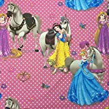 Disney-Prinzessinnen-Motiv, Pink-lizenziertes, hochwertiges, 100prozent Baumwolle, fein gewebt Children's Duschvorhang aus Stoff, 140 cm breit, Meterware
