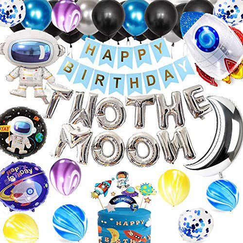 Two the Moon Birthday Decorations Outer Space Theme Party Supplies