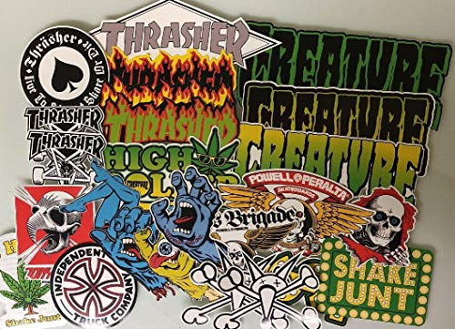 CARKOCI Skate Sticker Pack-Powell Peralta Santa Cruz Skateboards Thrasher Magazin