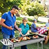 Femor Barbecue à Charbon, Barbecue Pliant Portable, BBQ de Table en Acier Inoxydable, pour Barbecue de Jardin, extérieur Camping et Pique Nique, AVCE Poêle à Frire antiadhésive (pour 5-10 Personnes) #4