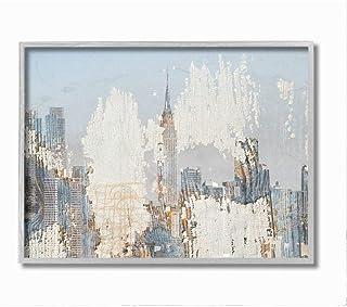 Stupell Industries Urban Distressed New York City Skyline, Designed by Irena Orlov Wall Art, 11 x 14, Grey Framed