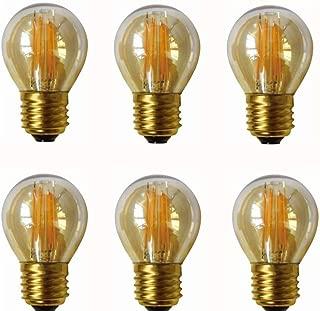 JKLcom 4W G45 Dimmable LED Filament Bulb G45 LED Vintage Edison Bulbs E26/E27 Medium Base Lamp for Home Pendant Antique Light,G14/G45 Shape,E26/E27 Socket Base,Amber Glass,2300K Warm White, Pack of 6
