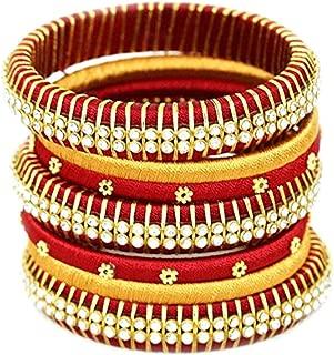 Festive Offer: Designer Handcrafted Silk Thread Red & Yellow Bangles for Women