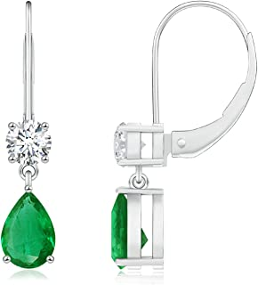 May Birthstone - Pear Shaped Emerald Leverback Drop Earrings for Women in 14K White Gold (6x4mm Emerald)