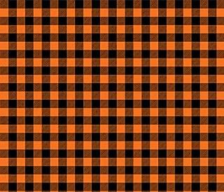 Orange Black 18 x 12 Buffalo Plaid HTV Check Printed Heat Transfer Vinyl Craft Pattern Sheet with Mask