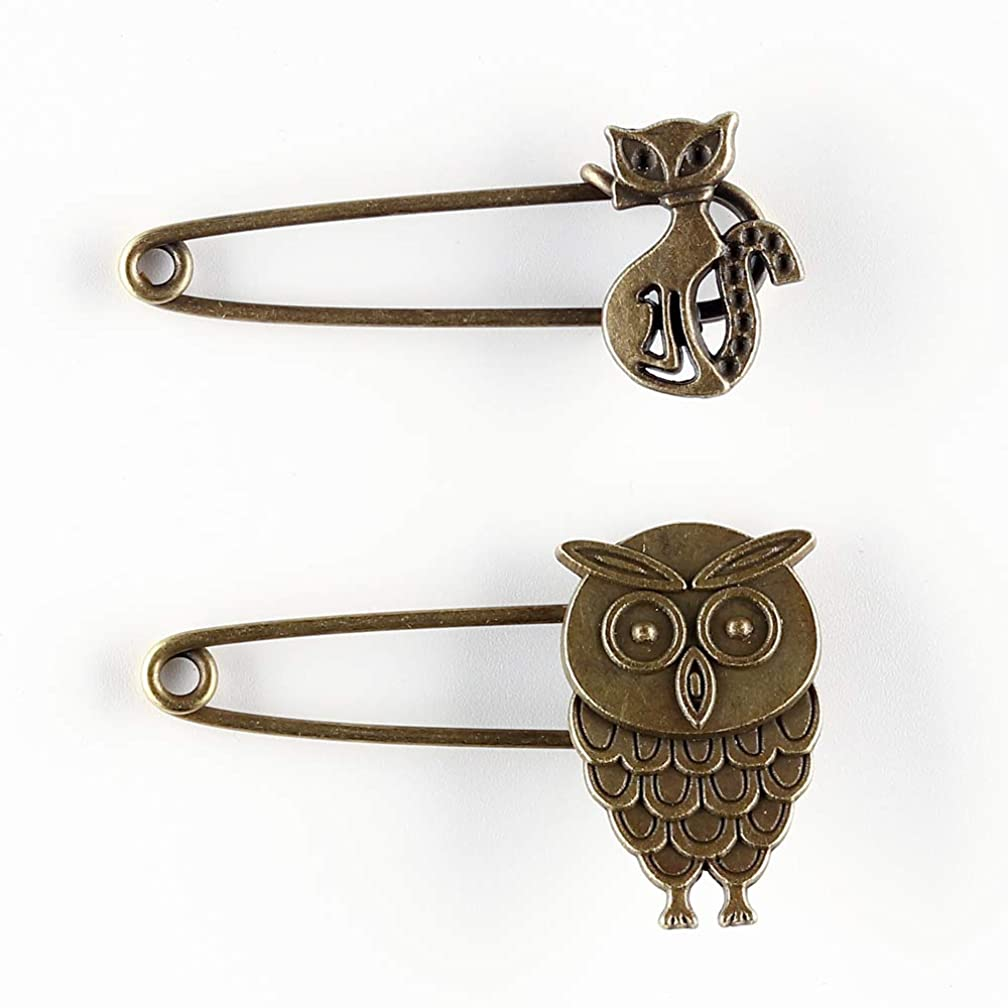 4PCS Cute Bronze Vintage Hijab Pins/Brooch Pins/Safety Steampunk Findings (Owl and Fox)