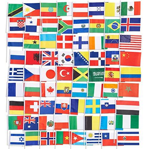 Länderflaggen von Juvale (72 Stück) – Flaggen von 72 Ländern der Welt - Als Multikulti-Party-Dekoration, zur Fußball-WM oder -EM - Polyester, Sortierte Farben - 19 cm x 13,2 cm