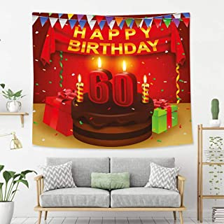 BEIVIVI Colorful Art Design Tapestry 60th Birthday Decorations Festive Party Theme Show Inspired Curtains Cakes Box Art Print Multicolor Wall Tapestry with Art Nature Home Decorations