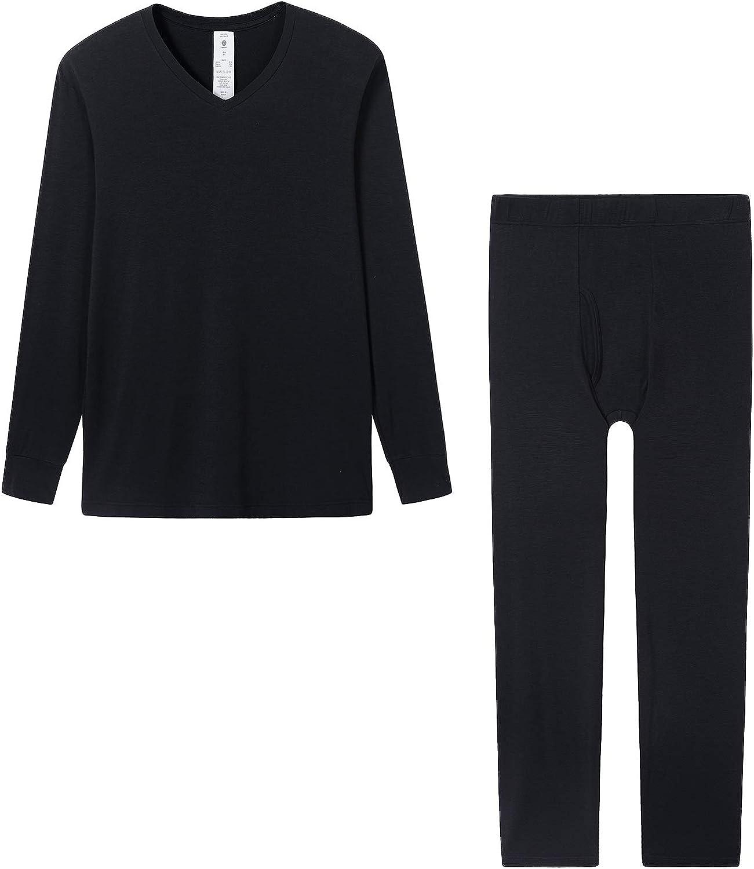 LAPASA Ultra Light Men's Thermal Underwear Set Heat Generation V Neck Long John Thermal Tops and Thermal Bottoms M76