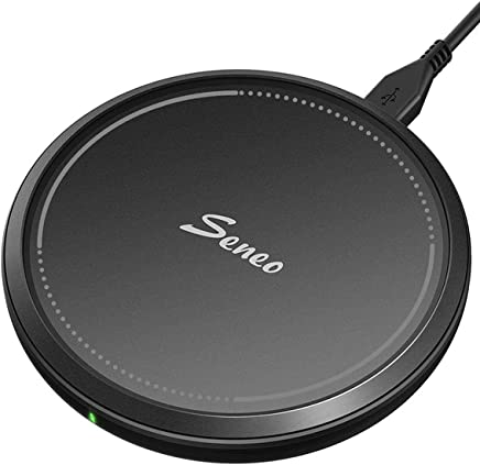 Seneo 10W Fast Wireless Charger, Qi Wireless Charging Pad, 7.5W Compatible iPhone Xs Max/Xs/XR/X/8/8P/New Airpods, 10W Compatible Galaxy S10/S9/S9+/S8/Note 9/8 (QC3.0 Adapter is Needed, No AC Adapter)